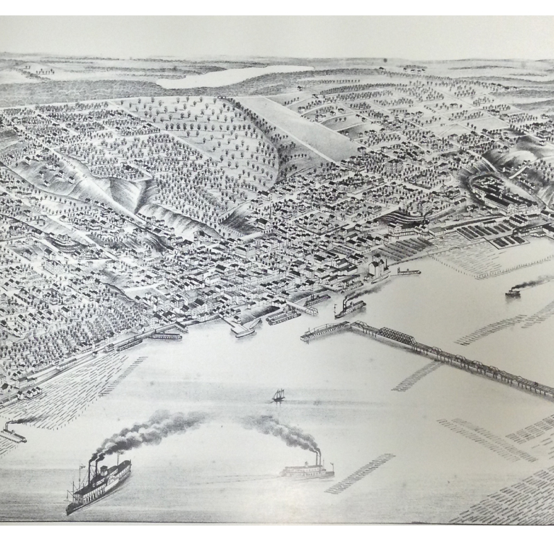 1879 Bird's-Eye Map of Stillwater