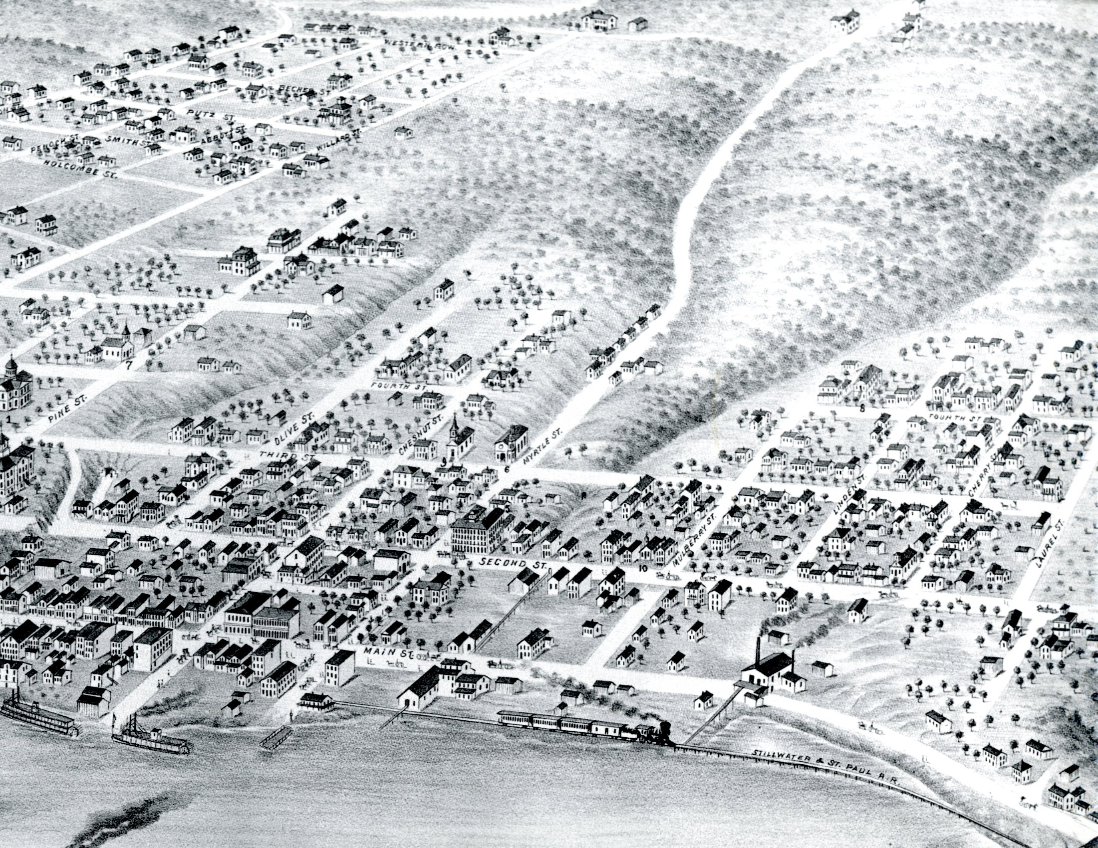 1870 Bird's-Eye Map of Stillwater
