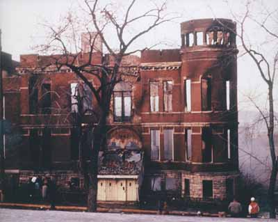 Stillwater High School after fire, December 1957