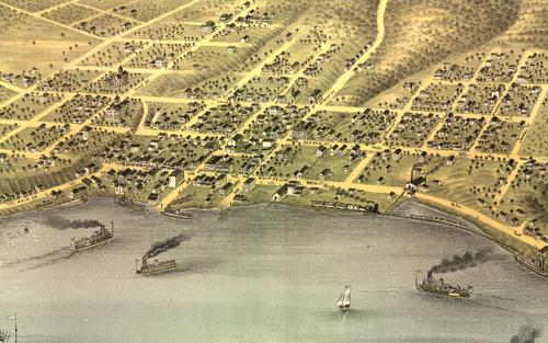 "A ""Bird's Eye View"" map of Stillwater in 1870. (Library of Congress)"