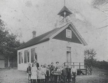 Square Lake School and students in ca. 1908