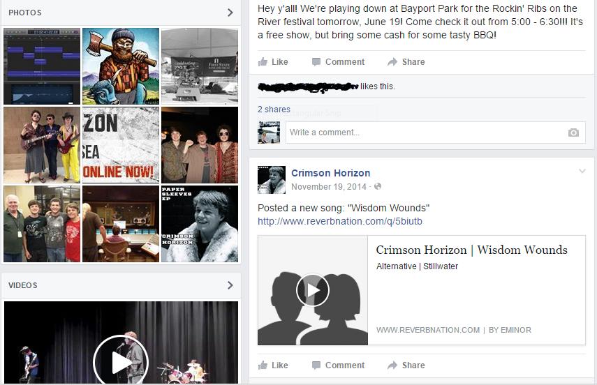 Local band Crimson Horizon advertising with social media