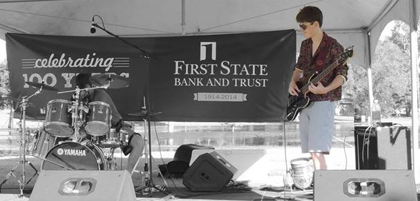 Conor Murphy (right) playing a gig with Crimson Horizon